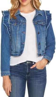 CeCe Ruffled Shoulder Denim Jacket
