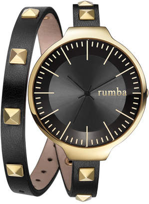 RumbaTime Orchard Double Wrap Lights Out Women Watch Black