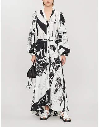 Loewe Salome asymmetric printed crepe maxi shirt dress