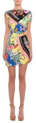 Versace Asymmetric Floral-Print Sleeveless Mini Dress