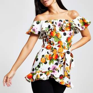 River Island Womens Orange print bardot top