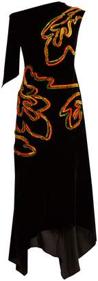 Peter Pilotto Floral-chenille asymmetric velvet dress