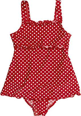 Playshoes Girl's UV Sun Protection Polka Dot Ruffle Skirt Bathing Suit Swimsuit,9 Years (Manufacturer Size:134/140 (9-10 Years))