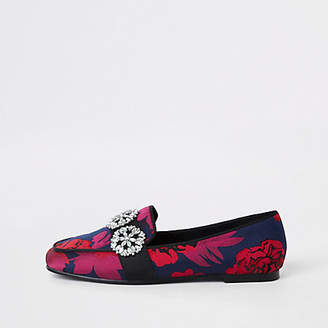 River Island Red floral print jewel trim loafers