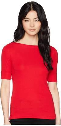 Lauren Ralph Lauren Petite Cotton Boat Neck T-Shirt Women's T Shirt