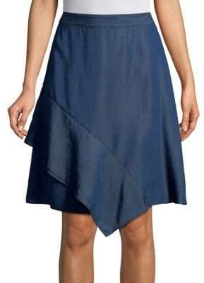 Halston H Asymmetrical Flounce Above-the-Knee Skirt