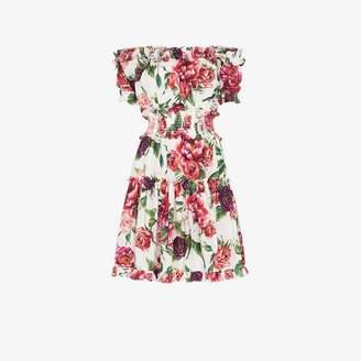 Dolce & Gabbana off-shoulder frill peony print cotton mini dress
