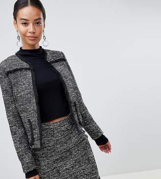 Fashion Union Tall tall tweed blazer in frayed details