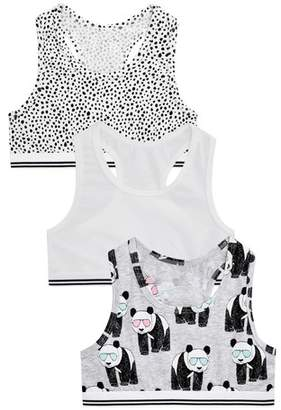 Next Girls Monochrome Panda Crop Tops Three Pack (Older)