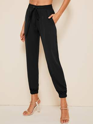 Shein Solid Drawstring Waist Crop Tapered Pants