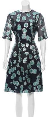 Lela Rose Silk Blend Brocade Dress