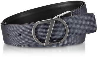 7023668556d Ermenegildo Zegna Navy Blue   Black Cross Grain Leather Adjustable And  Reversible Men s Belt