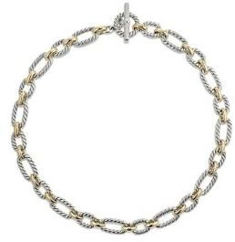 David Yurman Cushion Link Necklace with 18K Gold $2,950 thestylecure.com