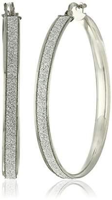 Sterling Silver Italian Rhodium Plated 35mm Sparkle Hoop Earrings