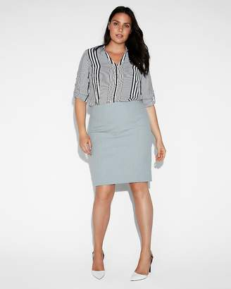 Express High Waisted Textured Seamed Pencil Skirt