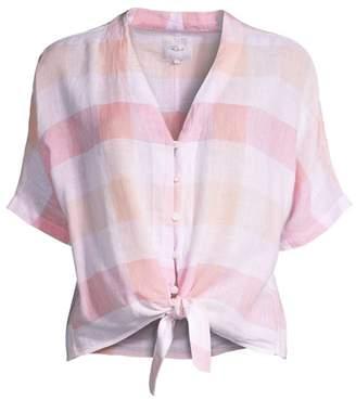 786fced31b711f Rails Thea Gingham Linen Tie-Front Shirt