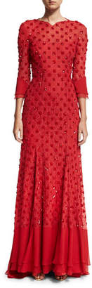 Jenny Packham 3/4-Sleeve Beaded Open-Back Gown, Red