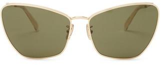 Celine Butterfly Metal Sunglasses - Womens - Green Gold