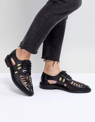 Selected Leather Caged Lace Up Flat Shoe