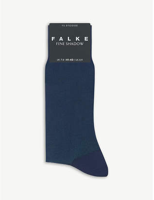 Falke Mens Grey Melange Fine Shadow Cotton-Blend Socks