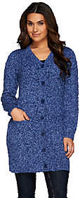Denim & Co. Cable Knit Button Front Sweaterwith Pockets