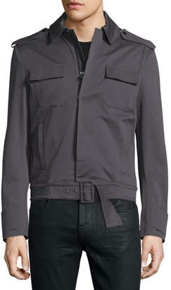 CNC Costume National Long-Sleeve Woven Sports Jacket, Smoke Gray
