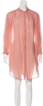 Giada Forte Long Sleeve Knee-Length Dress Coral Long Sleeve Knee-Length Dress