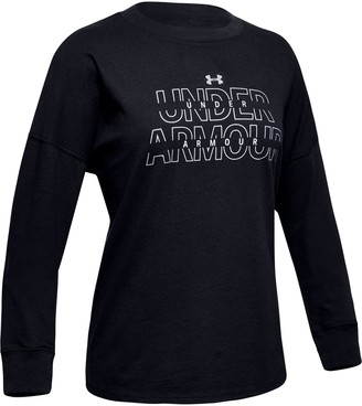Under Armour Girls' UA Wordmark Branded Long Sleeve