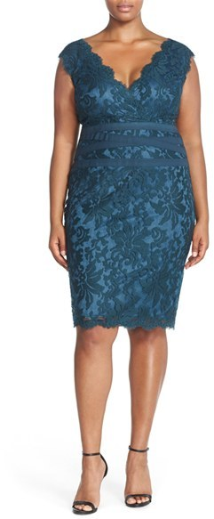 Tadashi Shoji Plus Size Women's Embroidered Lace Sheath Dress