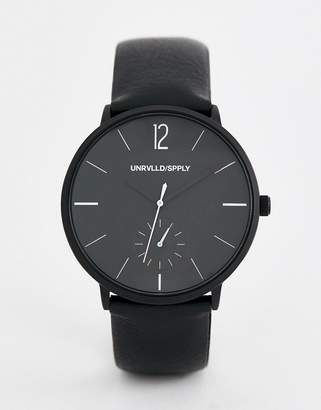 Asos DESIGN monochrome watch with black faux leather strap
