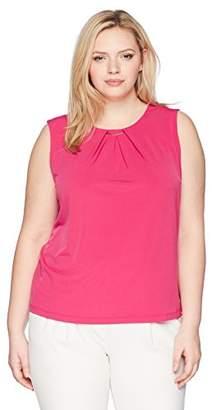 Calvin Klein Women's Plus Size Keyhole Top with Hardware