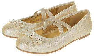 Accessorize Gold Tie Bow Ballerina Flats