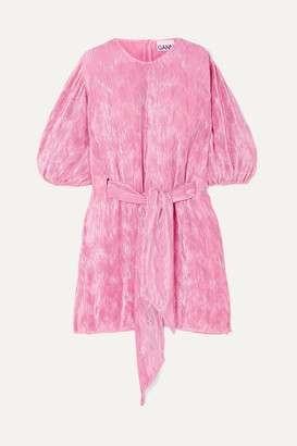 Ganni Belted Plisse-satin Mini Dress