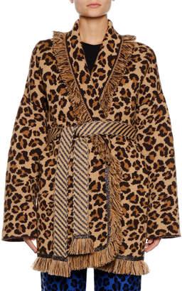 Alanui Self-Belt Leopard-Print Cashmere Cardigan w/ Metallic & Fringe Trim