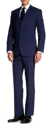 English Laundry Dark Blue Plaid Two Button Peak Lapel Trim Fit Suit