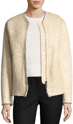 Etoile Isabel Marant Izy Zip-Front Cracked Lambskin Jacket