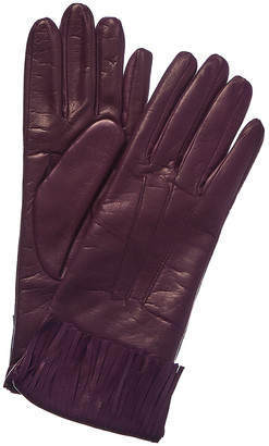 Portolano Women's Aubergine Cashmere-Lined Leather Gloves