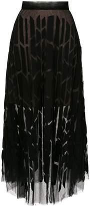 Gloria Coelho tulle panelled midi skirt