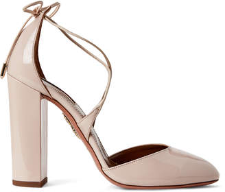 Aquazzura Blush Karlie Lace-Up Block Heel Pumps