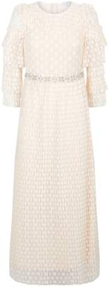 Sandro Pleated Lace Midi Dress