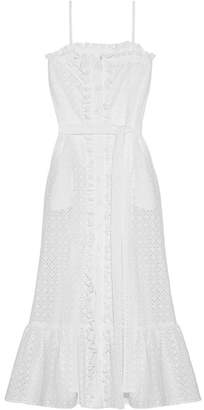 Lisa Marie Fernandez Ruffled Broderie Anglaise Cotton Maxi Dress - White