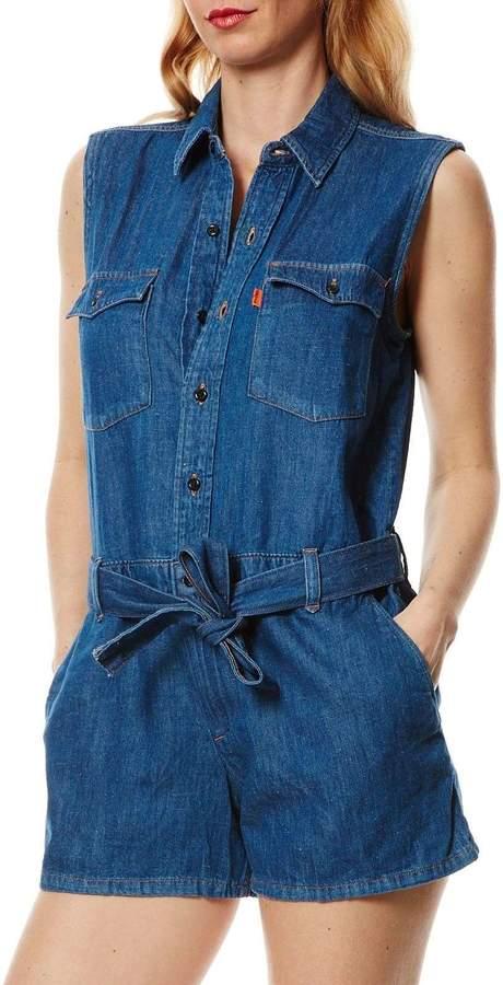 70S Western Romper - Kombi-Shorts - jeansblau