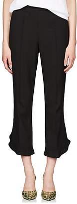 Prada Women's Ruffle Crepe Crop Pants - Black