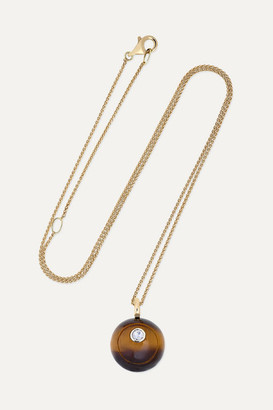 Noor Fares Svadhisthana 14-karat Gold, Tiger Eye And Diamond Necklace