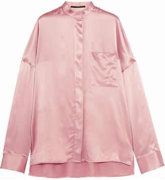 Haider Ackermann - Oversized Silk-satin Shirt - Antique rose $840 thestylecure.com