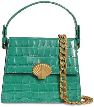 Rixo Croc Embossed Leather Shoulder Bag