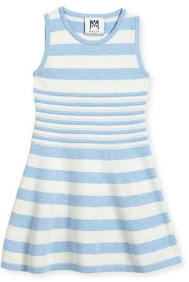 Milly Minis Striped Knit Flare Dress, Navy/White, Size 8-14