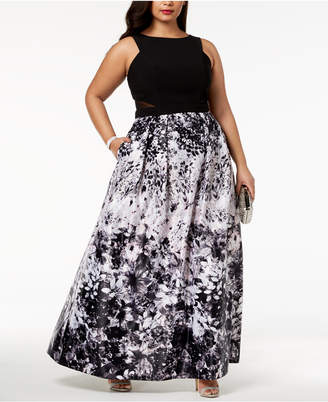 Xscape Evenings Plus Size Solid & Floral-Print Gown