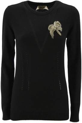 N°21 N.21 Black Cashmere Knitted Embellished Jumper.
