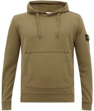 Stone Island Logo Patch Cotton Hooded Sweatshirt - Mens - Dark Green